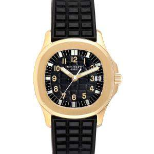 Patek Philippe Black 18K Yellow Gold Aquanaut Automatic 5066 Men's Wristwatch 34 MM