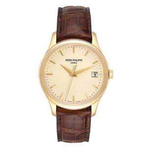 Patek Philippe Ivory 18K Yellow Gold and Leather Calatrava Hunter 5227 Men's Wristwatch 38MM