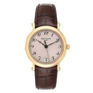 Patek Philippe Beige 18K Yellow Gold Calatrava Officier 5053 Men's Wristwatch 36MM