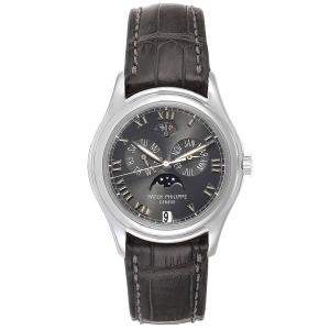 Patek Philippe Slate Platinum 18K White Gold Annual Calendar Moonphase 5056 Men's Wristwatch 36.5MM