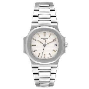 Patek Philippe White Stainless Steel Nautilus Automatic 3800 Men's Wristwatch 37.5 x 37.5 MM