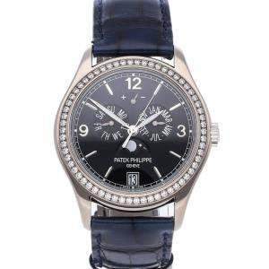 Patek Philippe Navy Blue Diamonds 18K White Gold Complications Annual Calendar 5147G-001 Men's Wristwatch 39 MM