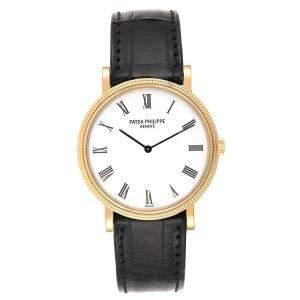 Patek Philippe White 18K Yellow Gold Calatrava Automatic 5120 Men's Wristwatch 35 MM