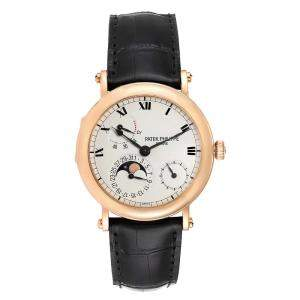 Patek Philippe White 18K Rose Gold Complications Power Reserve Moonphase 5054 Men's Wristwatch 36 MM