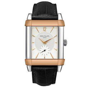 Patek Philippe Silver 18K Rose Gold And Platinum Gondolo 5111PR-001 Men's Wristwatch 35 MM