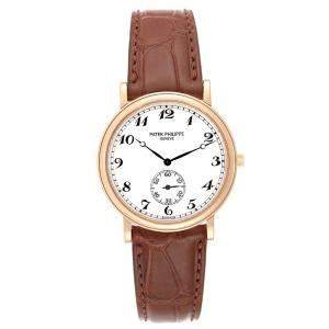 Patek Philippe White 18K Rose Gold Calatrava 5022 Men's Wristwatch 33 MM