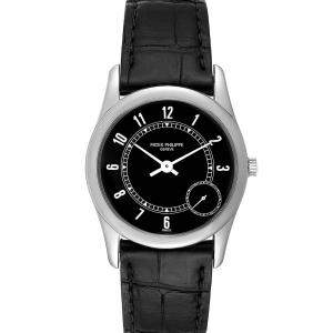 Patek Philippe Black 18K White Gold Calatrava Automatic 5000 Men's Wristwatch 33 MM