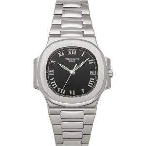 Patek Philippe Black Stainless Steel Nautilus 3800/1A-001 Men's Wristwatch 37.5 MM