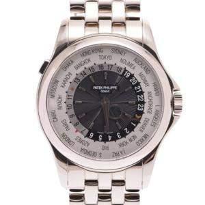 Patek Philippe Silver 18K White Gold World Time Complications 5130/1G-011 Men's Wristwatch 39.5 MM