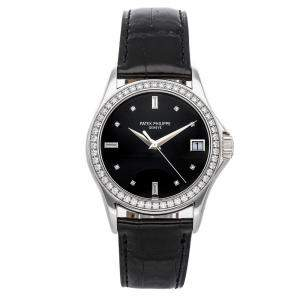 Patek Philippe Black Diamonds 18K White Gold Calatrava 5108G-010 Men's Wristwatch 37 MM