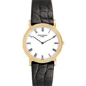 Patek Philippe White 18k Yellow Gold Calatrava 3520 Men's Wristwatch 32 MM