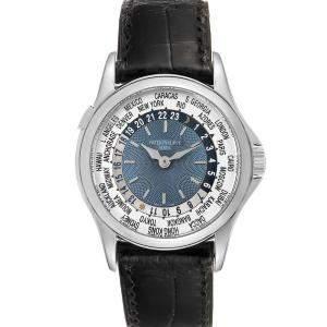 Patek Philippe Blue Platinum World Time Complications 5110 Men's Wristwatch 37 MM