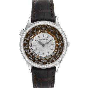 Patek Philippe Brown Diamonds 18K White Gold World Time Complications 7130 Men's Wristwatch 36 MM