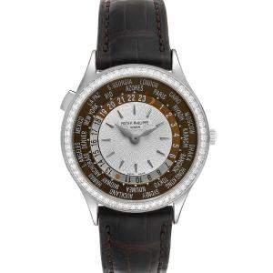Patek Philippe Brown Diamonds 18K White Gold World Time Complications 7130 Men's Wristwatch 36 MM