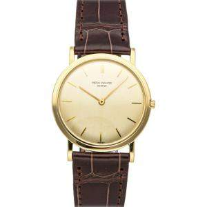 Patek Philippe Champagne 18K Yellow Gold Calatrava 3520J Men's Wristwatch 32 MM