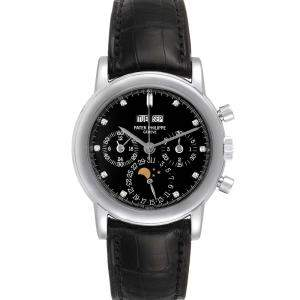 Patek Philippe Black Platinum Grand Complications Perpetual Calendar 3970 Men's Wristwatch 36 MM