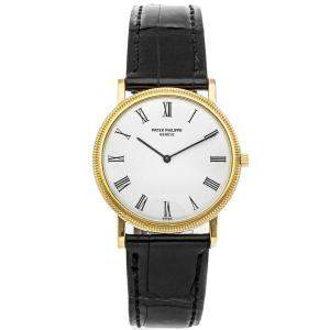 Patek Philippe White 18K Yellow Gold Calatrava 3520/D Men's Wristwatch 32 MM