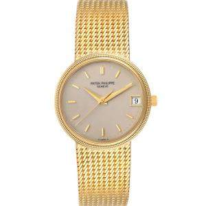 Patek Philippe Ivory Cream 18k Yellow Gold Calatrava Automatic 3802 Men's Wristwatch 33 MM