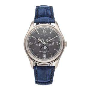 Patek Philippe Grey 18K White Gold Complications Annual Calendar Moon Phases 5146G-010 Men's Wristwatch 39 MM