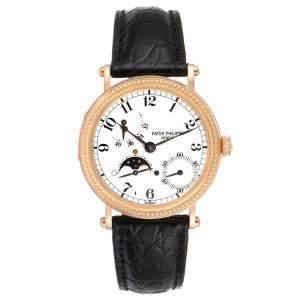 Patek Philippe White 18K Rose Gold Calatrava Moon Phase Power Reserve 5015 Men's Wristwatch 35.5 MM