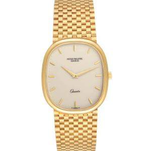 Patek Philippe Ivory 18k Yellow Gold Grand Ellipse 3838 Men's Wristwatch 36 x 31 MM