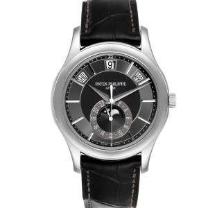 Patek Philippe Black 18K White Gold Complications Annual Calendar 5205 Men's Wristwatch 40 MM