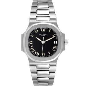 Patek Philippe Black Stainless Steel Nautilus Automatic 3800 Men's Wristwatch 37.5 MM