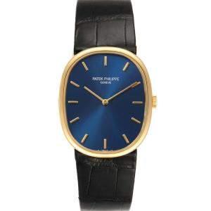 Patek Philippe Blue 18k Yellow Gold Golden Ellipse 7579 Men's Wristwatch 27 x 32 MM