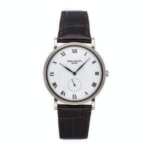 ساعة يد رجالية باتيك فيليب كالاترافا 399ي-001 ذهب أبيض عير 18 بيضاء 33 مم