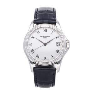 Patek Philippe Silver 18K White Gold Calatrava 5117G-001 Men's Wristwatch 37 MM