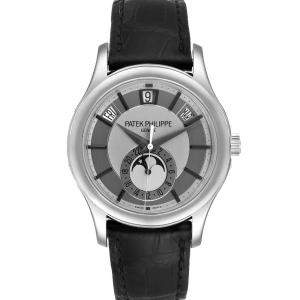 Patek Philippe Grey 18K White Gold Complications Annual Calendar 5205 Men's Wristwatch 40 MM