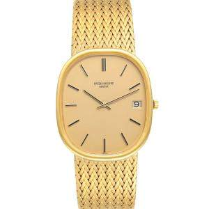 Patek Philippe Champagne 18k Yellow Gold Golden Ellipse 3605 Men's Wristwatch 38 x 33 MM