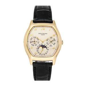 Patek Philippe Silver 18K Yellow Gold Grand Complications Perpetual Calendar Tonneau 5040J-013 Men's Wristwatch 42.5 x 35 MM