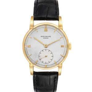 Patek Philippe Silver 18K Yellow Gold Calatrava Vintage 2430 Men's Wristwatch 35 MM