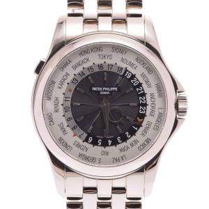 Patek Phillippe Silver 18K White Gold World Time 5130/1G-011 Men's Wristwatch 39.5 MM