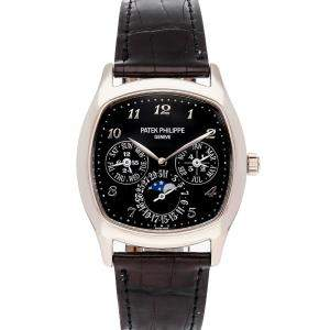 Patek Philippe Black 18K White Gold Grand Complications Perpetual Calendar 5940G-010 Men's Wristwatch 37 x 44 MM