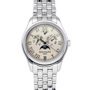 Patek Philippe Silver 18K White Gold Complications Annual Calendar Moon Phases 5036/1G-017 Men's Wristwatch 37 MM