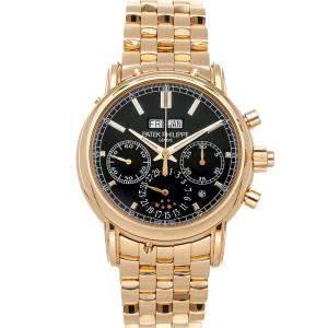 Patek Philippe Black 18K Rose Gold Grand Complications Split-Seconds Chronograph Perpetual Calendar 5204/1R-001 Men's Wristwatch 40 MM