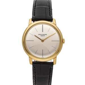 Patek Philippe Silver 18K Yellow Gold Calatrava 2593/J Men's Wristwatch 32 MM
