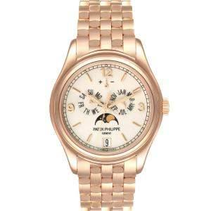 Patek Philippe Cream 18K Rose Gold Complicated Annual Calendar 5146 Men's Wristwatch 39 MM