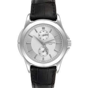 Patek Philippe Silver Platinum Calatrava Travel Time 5134 Men's Wristwatch 37 MM