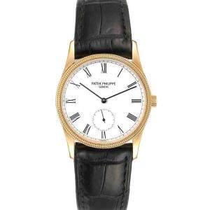 Patek Philippe White 18k Yellow Gold Calatrava Vintage 3796 Men's Wristwatch 30.5 MM