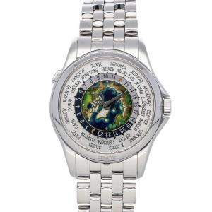 Patek Philippe Silver Platinum Complications World Time 5131/1P-001 Men's Wristwatch 39.5 MM