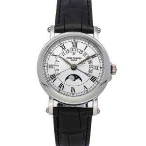 Patek Philippe White Platinum Grand Complications Perpetual Calendar 5059P-001 Men's Wristwatch 36 MM