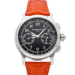 Patek Philippe Black Platinum Grand Complications Split-Seconds Chronograph 5370P-001 Men's Wristwatch 41 MM