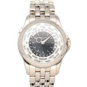 Patek Philippe Silver 18K White Gold Complications World Time 5130/1G-011 Men's Wristwatch 39.5 MM