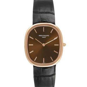 Patek Philippe Brown 18k Rose Gold Golden Ellipse 3738 Men's Wristwatch 31 x 35 MM