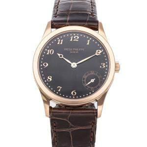 Patek Philippe Black 18K Rose Gold Calatrava 5023R Men's Wristwatch 33 MM