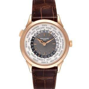 Patek Philippe Silver 18K Rose Gold World Time Complications 5230R Men's Wristwatch 38.5 MM