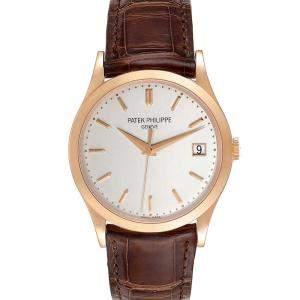 Patek Philippe Silver 18K Rose Gold Calatrava 5296R Men's Wristwatch 38 MM